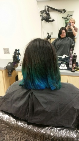Th end result! My gorgeous peacock hair ombre!
