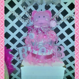 The adorable elephant diaper cake.